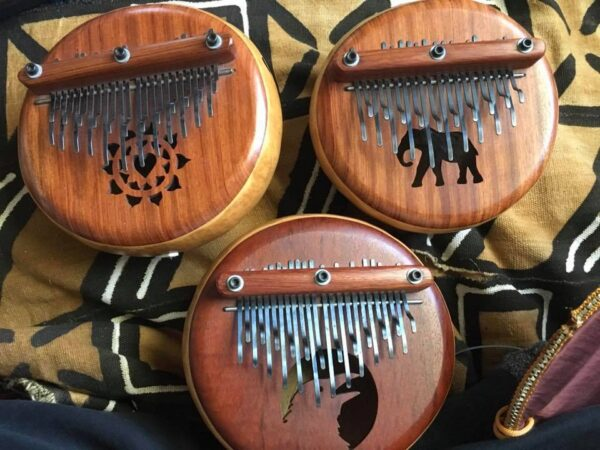 Three Kalimbas- C Blues minor Raven-C major Elephant- D semi-chromatic D Slendro empahasis Heart Thumb Piano